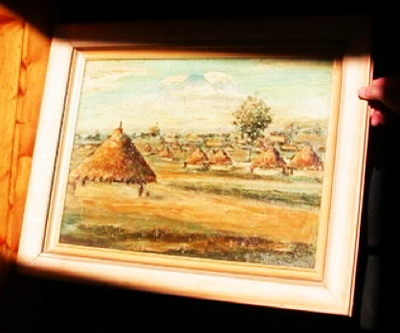 Tengeru, snow-capped Kilimanjaro in the distance, painted by an itinerant artist soon after the first refugees arrived.