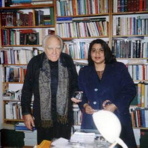 Author Anuradha Bhattacharjee with Father Zdzisław Peszkowski in Warsaw