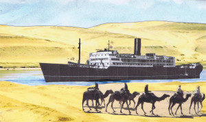 This image is my own composition: The passage through Egypt: sea-going ship sailing through sand dunes and camels.