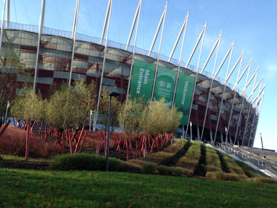 The 2013 UN Climate Change Conference (also known as COP19/CMP9) took place in Warsaw's National Stadium.