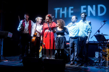 Katy and the Aviators take a bow at the Warsaw Uprising Museum, Oct. 2013 Photo by Aleksandra Sędek