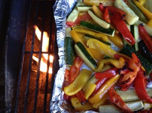 Veggies on an outdoor grill