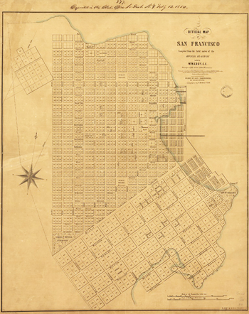 First map of San Francisco, 1849, drawn by Aleksander Zakrzewski, a veteran of the 1830 November Uprising who came to San Francisco as a political exile