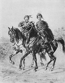 "Two characters from Henryk Sienkiewicz's ""With Fire and Sword"" in an 1884 painting by Juliusz Kossak"