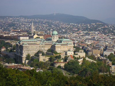 View of the Castle Hill (Várhegy) in Budapest.