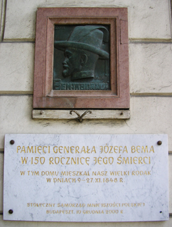 A tablet commemorating Józef Bem, Budapest.