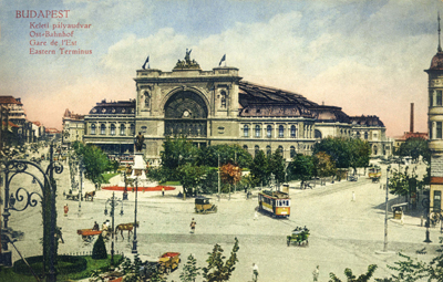 Budapest's East Train Station (Keleti Pályaudvar) on an old postcard.