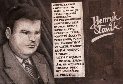 Part of a graffiti mural in Katowice, Poland, depicting Henryk Sławik.