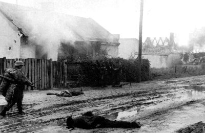 German troops under Heinz Reinefarth entering Wola engaged in the indiscriminate killing of men, women and children.