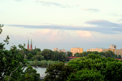 View of Praga's lush lands from across the river PHOTO: Lara Szypszak