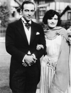 Pola Negri with Rudolph Valentino at the wedding of Mae Murray to Prince David Mdivani in Hollywood, 1926. Courtesy of Mariusz Kotowski.