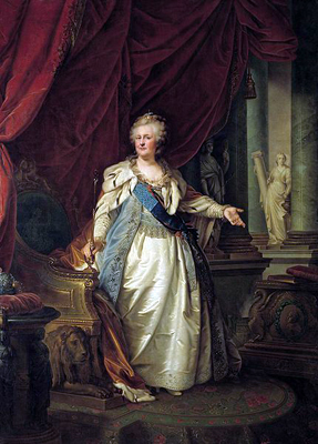 Portrait of Empress Catherine by Austrian-Italian painter Johann Baptist von Lampi the Elder, 1793