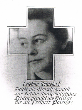 The first page of Teddy's Kleeblattalbum with Krystyna Wituska's image set into a cross and a dedication in German beneath.