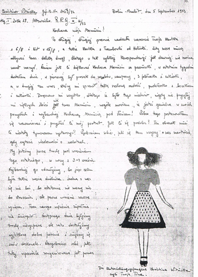 "Krystyna's letter to her mother, illustrated with a ""self-portrait"""