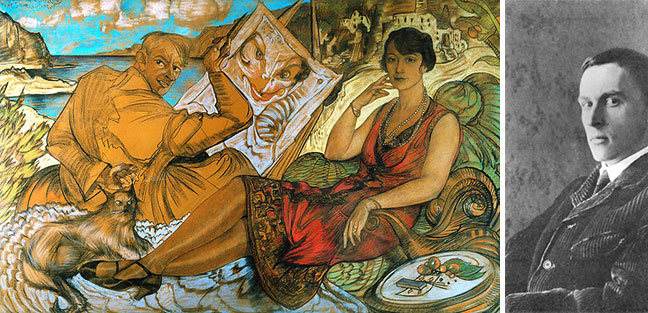 "PAINTING: ""The Falsity of Woman (Maryla Grosmanowa and self-portrait)"" by Witkacy; 1927. Courtesy of the National Museum in Warsaw."