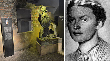 A copy of Warsaw's iconic Syrenka monument in the Warsaw Uprising Museum, along with a tablet memorializing Krystyna Krahelska. PHOTO by Adrian Grycuk