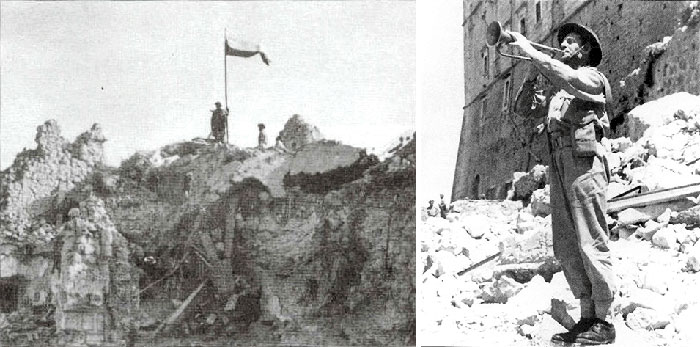 A Polish flag flies victorious in the captured fortress of Monte Cassino;  May 18, 1944: A Polish bugler announces the victory of Monte Cassino from amidst the ruins.