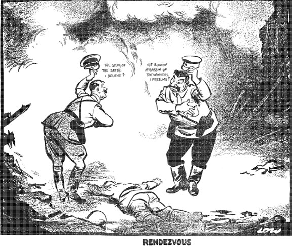 "CARTOON: Published Sept. 20, 1939 in the Evening Standard, David Low's political cartoon, titled ""Rendezvous,"" presents Hitler greeting Stalin upon their mutual invasion of Poland. ""The scum of the earth, I believe?  Hitler asks. ""The bloody assassin of the workers, I presume?"" Stalin replies."