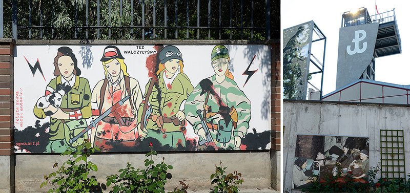 """Też walczyłyśmy"" (""We also fought"") proclaims a mural depicting female Resistance fighters in the Museum's garden. The museum's exterior features a combined P and W, the sign of Poland's Resistance, the largest such organization in war-torn Europe.  Photos: Justine Jablonska"