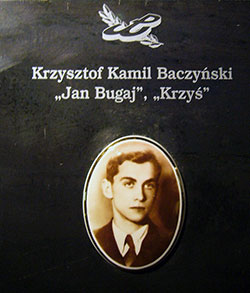 Krzysztof Kamil Baczyński's tablet in the Warsaw Uprising Museum; it bears his Resistance aliases, 'Jan Bugaj' and 'Krzyś.'
