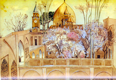 Artwork by Isfahan student Helena Waszczuk, 1944 Inscription at bottom reads: Armenian Cathedral & Museum  The view from my terrace in Isfahan  7/44