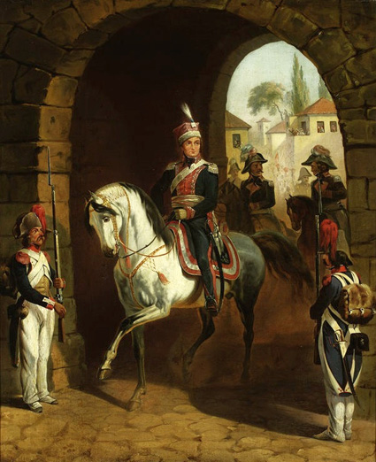 Gen. Jan Henryk Dąbrowski's entry into Rome Oil on canvas by January Suchodolski Painted pre-1850 At the National Museum in Warsaw