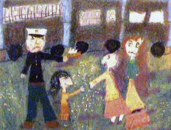 The documentary features children's artwork: Here, a deportation scene.