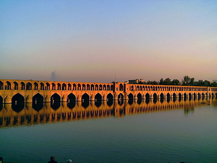 The Si-o-se Pol Bridge over the Zayandeh River in Isfahan By Shahab.mg via Wikimedia Commons