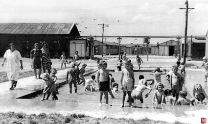 Pahiatua, NZ: The kindergartners in the camp's pool.PHOTO courtesy of the Kresy-Siberia Virtual MuseumExhibition: Daily Life
