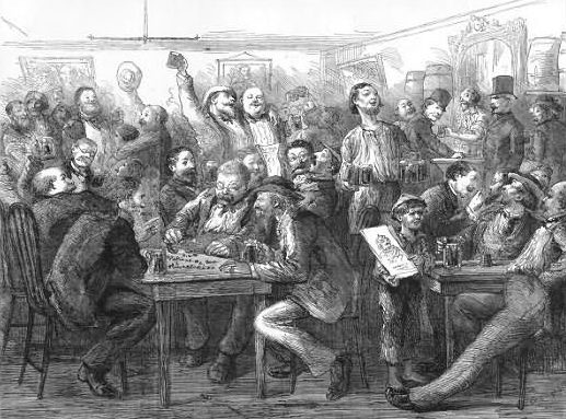 Saloon scene. From Every Saturday: An Illustrated Journal of Choice Reading. October 15, 1870