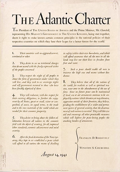 Atlantic Charter official document; Aug. 14, 1941