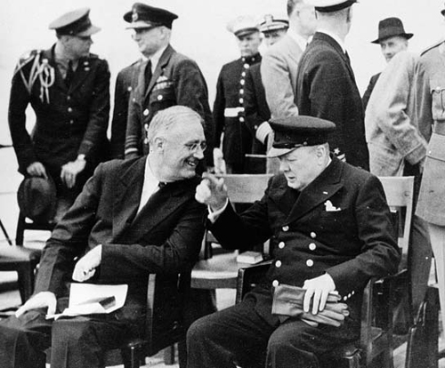 Churchill and FDR aboard the HMS Prince of Wales for the Atlantic Charter conference.