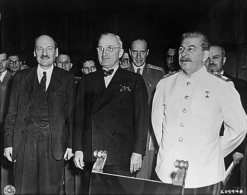 Clement Attlee ((who replaced Churchill after the British election), Harry S. Truman, and Joseph Stalin at the 1945 Postdam conference.