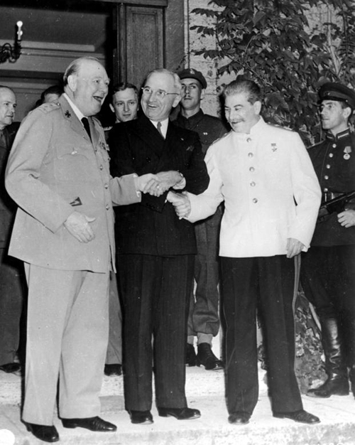 Churchill, Truman and Stalin, all in good spirits at the 1945 Postdam Conference.