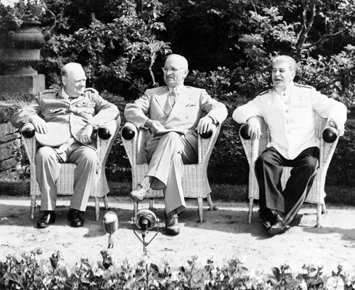 Churchill, Truman and Stalin at Potsdam.