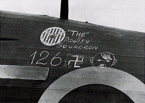 "No. 303 Squadron pilots claimed 126 downed German aircraft – or, ""Adolfs."" Here, that score is chalked onto a Hurricane."