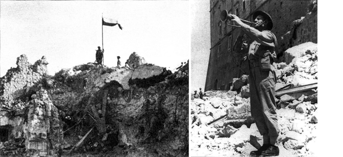 LEFT: The moment just before the abbey's capture: Polish soldiers carry ammunition to the front lines. RIGHT: The Polish flag on the ruins of Monte Cassino.