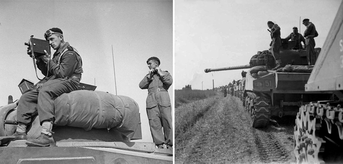 LEFT: Polish 2nd Lt. Jerzy Januszajtis atop a Sherman tank of the 1st Polish Armored Division during Operation Totalise, south of Caen, Normandy, on Aug. 8, 1944. He's using a De Vry camera. RIGHT: The 1st Polish Armored Division in the 1944 Normandy Campaign. PHOTO by British No. 5 Army Film & Photographic Unit, Sgt. Wilkes, via the Imperial War Museum