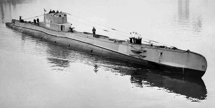 The Polish Navy submarine ORP Orzeł (Eagle) in Scotland, via the Imperial War Museum.
