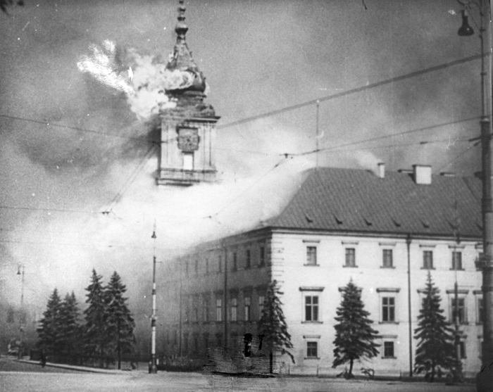 Warsaw's Royal Castle burns in September 1939 after German shellfire.