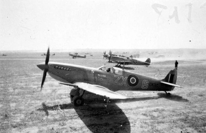 "From the Imperial War Museum: ""PFT Spitfire MK9 ZX6"" – the kind flown by Skalski's Circus in Tunisia – by a Royal Air Force official photographer."