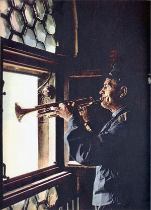 "PHOTO from 1968 ""Streets of Kraków"" guide: Hejnał player."