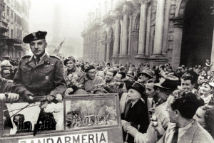 General Rudnicki leads the liberation cavalcade in bologna