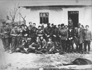 Jewish platoon of the AK in the Hanaczów, Lwów (Lviv) district (c. January 1944) under the command of Home Army Lt. Kazimierz Wojtowicz. The platoon was led by Bunio Tenenbaum
